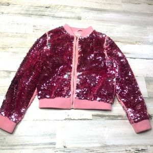 H&M Girls jacket pink sequin size 7/8 silver